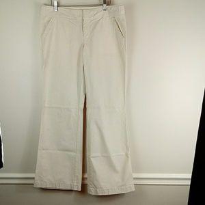 Tan light oxford cloth wide leg trousers size 10